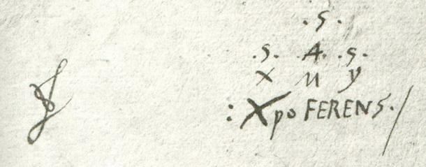"The conspiracy to hide Cristóbal Colón's Portuguese origins was international in scope, including even (amazingly) the Spanish monarchs he betrayed. His coded signature is a puzzle unto itself and still remains to be fully deciphered. On the lower line is written his chosen pseudonym "": XpoFERENS ./"" [colon (:) Christopher semi-colon (;)]"