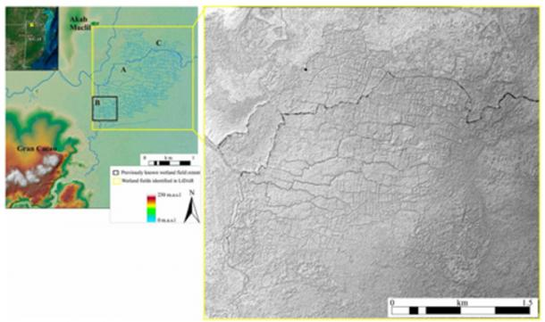 Birds of Paradise field areas (Left, A–C) with the Maya site of Akab Muclil and Center of Gran Cacao. Left has color enhancement for elevation, and Right is a shaded relief map of the DEM. (T. Beach et al / PNAS)