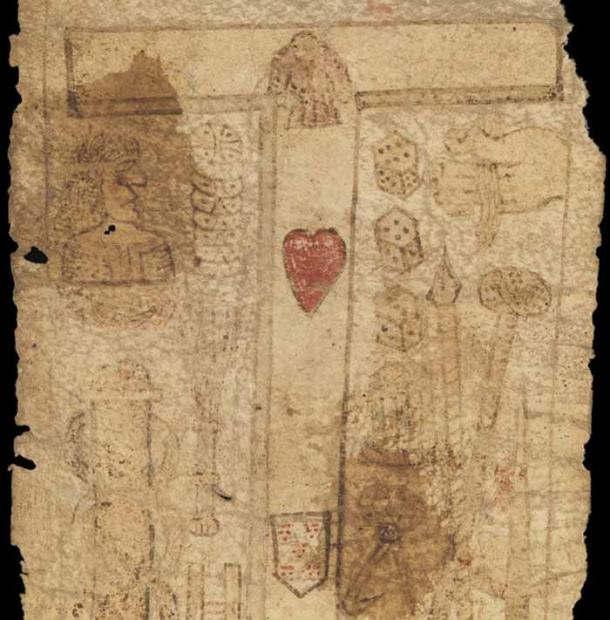 MS. 632 birthing girdle section showing a cross with a red heart and shield. (Courtesy of the Wellcome Collection)