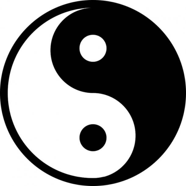 The well-known black and white version of a yin-yang symbol.