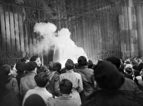 On December 24, 1951, an effigy of Santa Claus was burned at Dijon's cathedral on the grounds that it was a pagan character does not exist. Archives/AFP (The Conversation)