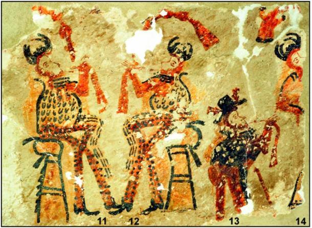 Black dots on an orange background are characteristic of local Maya art. (R. Słaboński / Antiquity Publications Ltd)