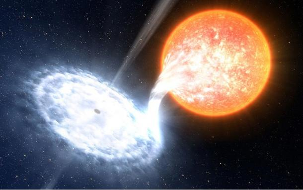 rtist's representation of a black hole and a normal star separated by a few million kilometres.