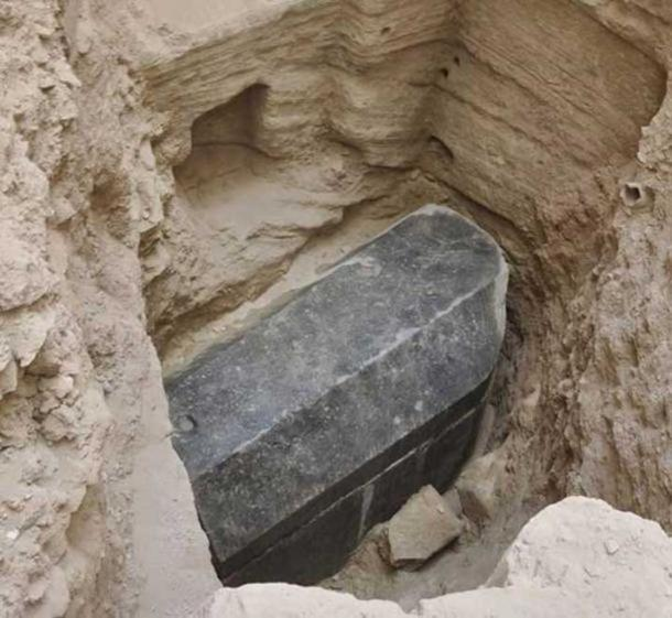 The black sarcophagus may be the largest ever found in Alexandria. (Ministry of Antiquities)