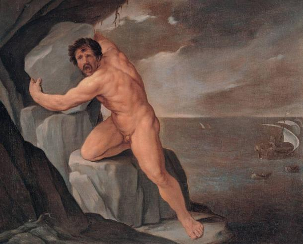 The blinded Polyphemus, son of Poseidon, seeks vengeance on Odysseus
