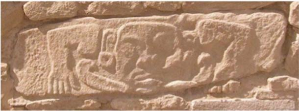 Block carved with humanoid deity. Southern retaining wall, upper citadel, Shimao, Shenmu county, Shaanxi province, China. (Sun Zhouyong, Shaanxi Provincial Institute of Archaeology)