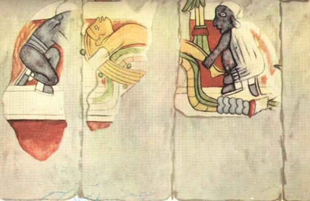 A part of a mural showing a blond-haired man being sacrificed by two black men.