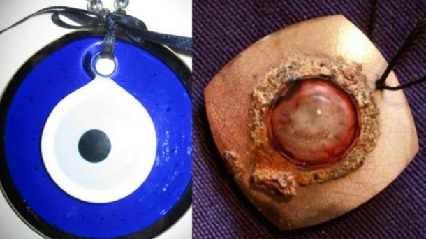 Left, the blue Nazar, and right, the Ruby Eye Pendant from an ancient Mesopotamia