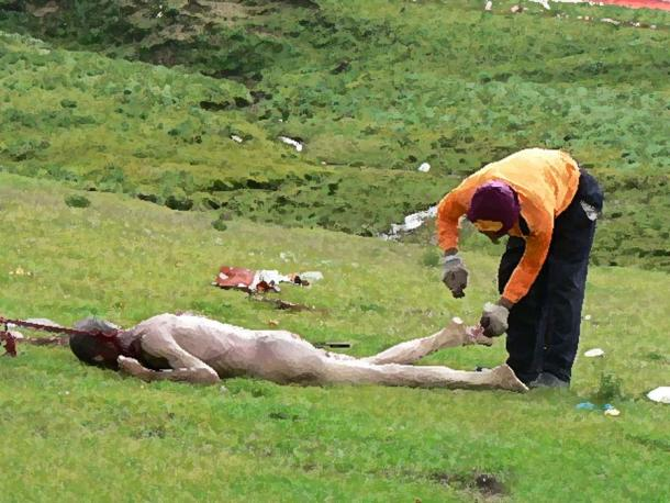 A body being prepared for Sky burial in Sichuan.