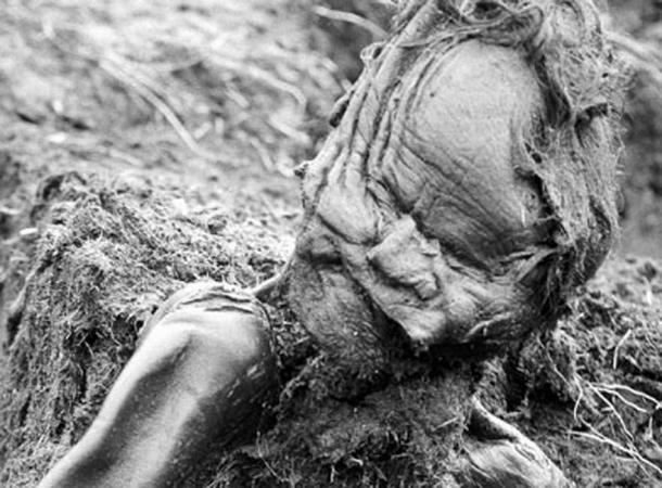 The body of the Grauballe Man upon his discovery.
