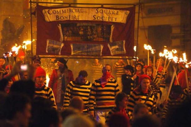 Guy Fawkes Day celebrations in East Sussex, England.