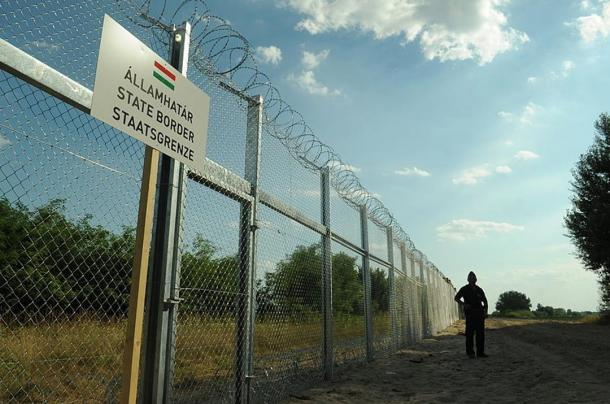 The Hungarian – Serbian border fence, 2015, erected to prevent refugees crossing into Hungary