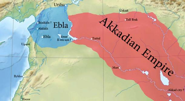 Approximate borders of Ebla and the Akkadian Empire in the second kingdom.