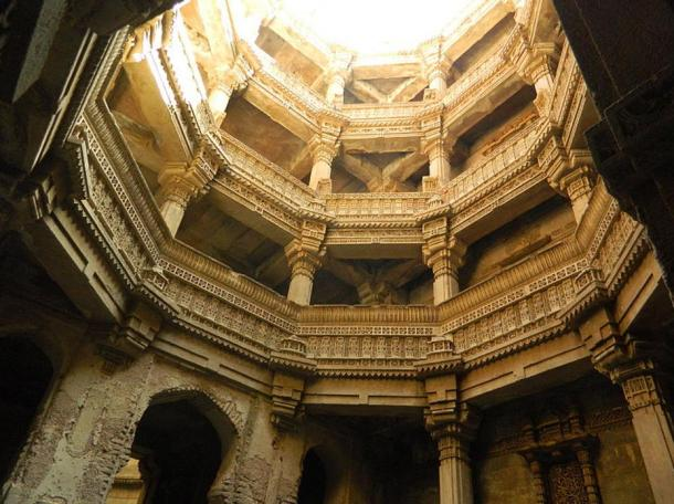 View from the bottom of Rudabai stepwell.