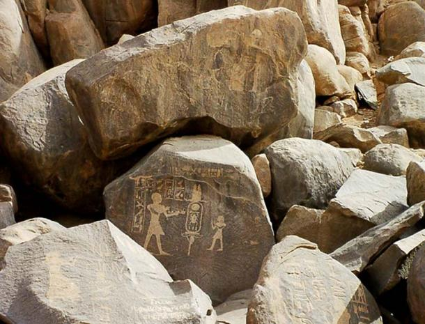 """A boulder on Sehel Island, near Aswan, is inscribed with the prenomen of Amenhotep II - """"Aakheperure""""."""