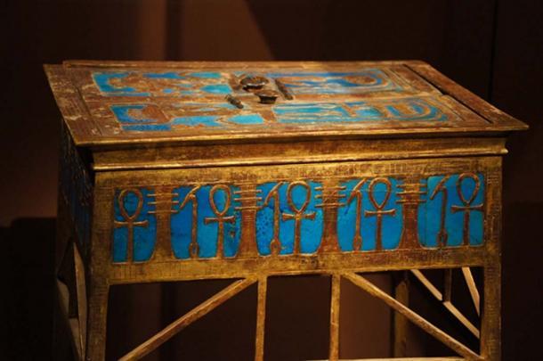 An elaborate box from Yuya and Tuya's tomb bearing Amenhotep III's cartouche.
