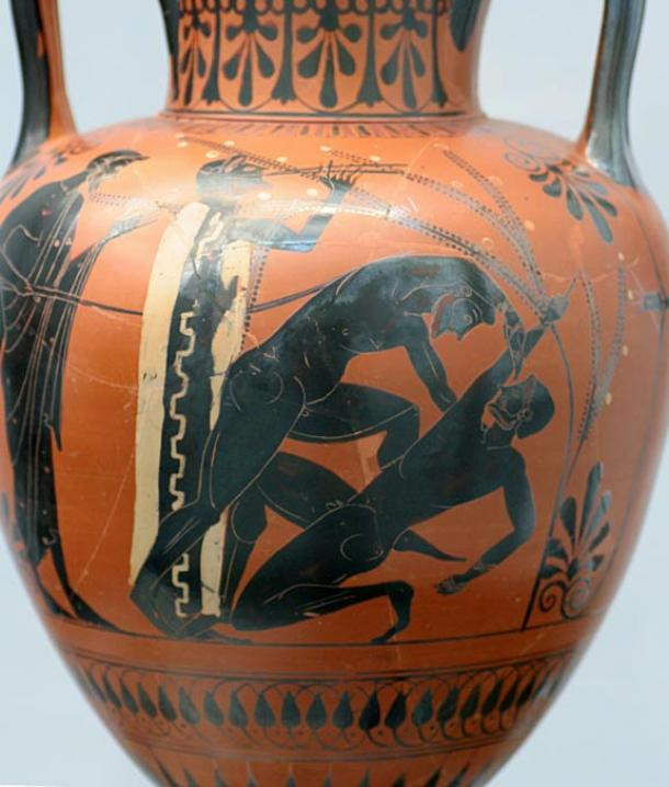 The right boxer signals giving up by raising his finger high (c. 500 BC).