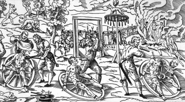 This wood cut shows the 'breaking wheel' as it was used in Germany in the Middle Ages. The exact date is unknown, as is the creator, but it depicts the execution of w:Peter Stumpp in Cologne in 1589 (Public Domain)