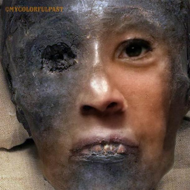 The bringing to life of the 3345-year-old face of Tutankhamun. (Courtesy of Matt Loughrey / My Colorful Past)