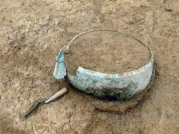 The bronze cauldron during excavations in Swabia, Germany.