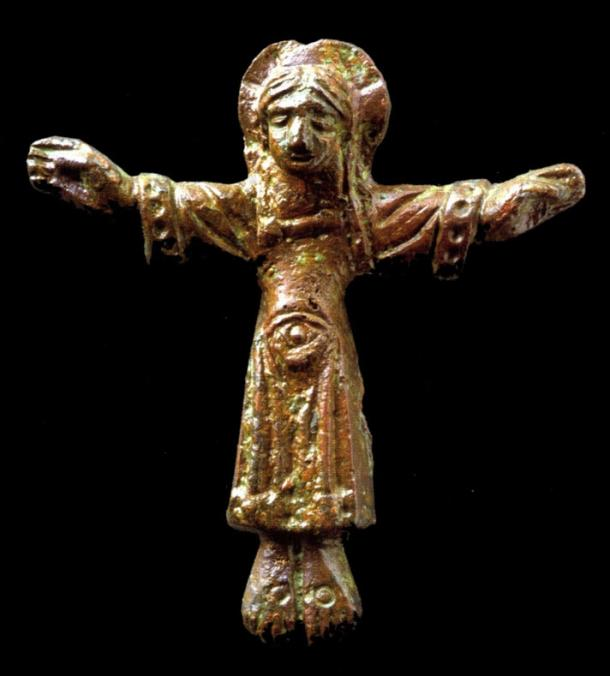 A bronze cross from about 1000 AD was excavated from the cemetery surrounding the Church of the Virgin Mary in.