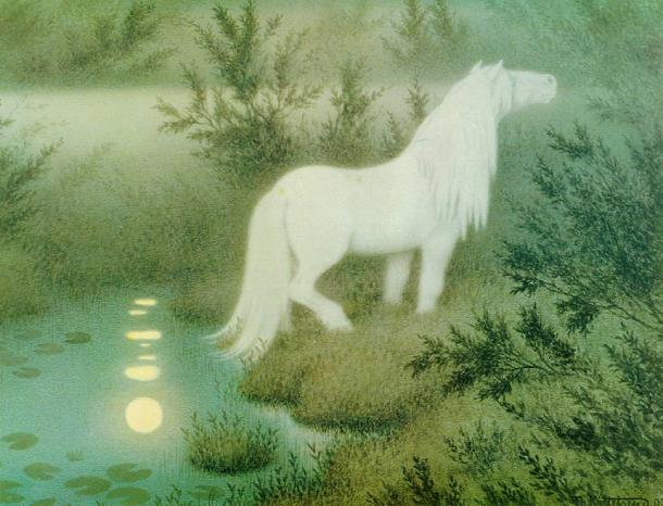 økken som hvit hest ('The Neck as a brook horse') (1909) by Theodor Kittelsen. (Public Domain) A depiction of the water spirit Neck, in the shape of a water horse.