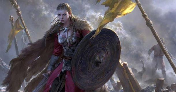 'Brynhildr.' Used here as a representational image of a woman warrior in the Viking Age. Source: FLOWERZZXU/ Deviant Art