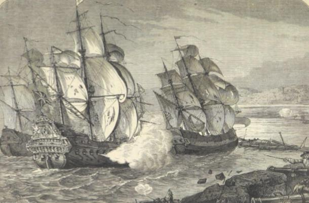 Build up to the Battle of the Boyne, the armed merchant ship Mountjoy breaks through the defensive boom to relieve the Siege of Derry. (Howicus / Public Domain)