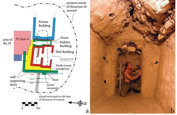 At left is a plan of all buildings found below the Structure 14 mound (drawing: Aleksander Danecki and Wiesław Koszku)l. The photo on the right shows the  interior of the Hidden Building with its small chamber and a doorway only 1.4m high; arrows mark three hinges used to block the entrance to the room