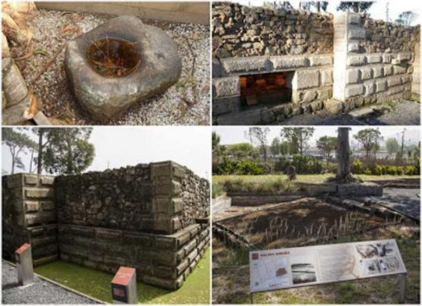 Clockwise: Grinding Stone; Underfloor Thermal System; Main building wall; salt production area