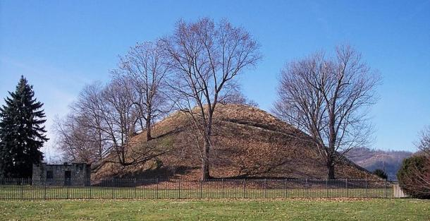 A burial mound of the Adena Culture. Grave Creek Mound in Moundsville, West Virginia