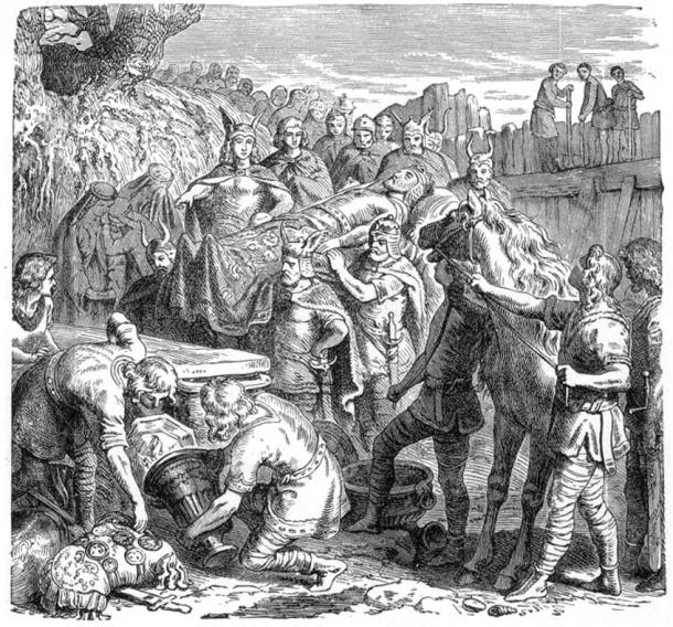 The burial of Alaric in the bed of the Busento River. 1895 wood engraving.