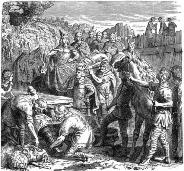 Illustration of the burial of Alaric in the bed of the Busento river. (1895) By Heinrich Leutemann.