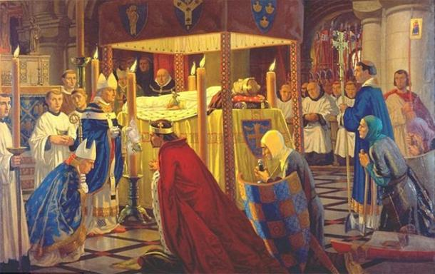 The burial of Henry I in 1136 at Reading Abbey. (Public domain)