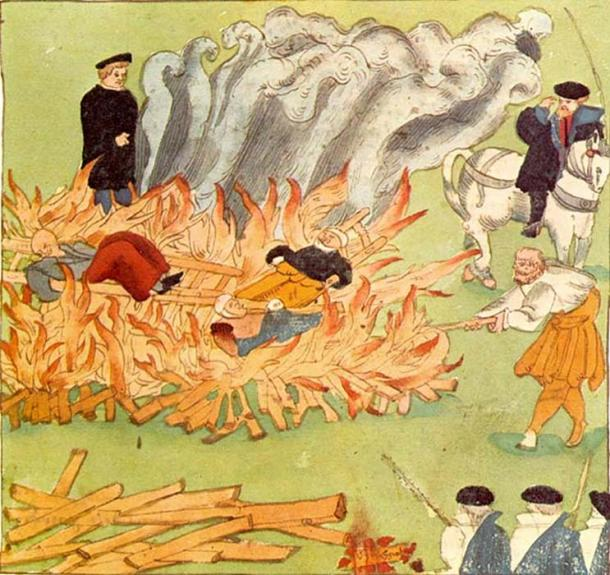 The burning of witches.
