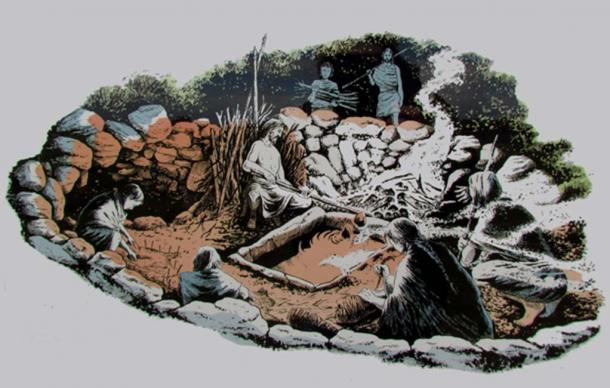 An artist's sketch of a burnt mound in use.
