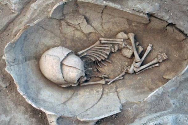 The practice of burying babies in jars is something that has existed since the Bronze Age. This example is a middle Bronze Age infant jar burial from the Lebanese site of Sidon