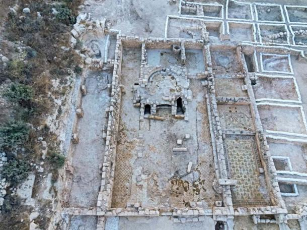 The Byzantine church complex exposed at Beit Shemesh. (Assaf Peretz / Israel Antiquities Authority)