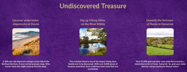 Part of the Cadbury Treasures campaign, encouraging unlicensed metal detecting. (Cadbury)