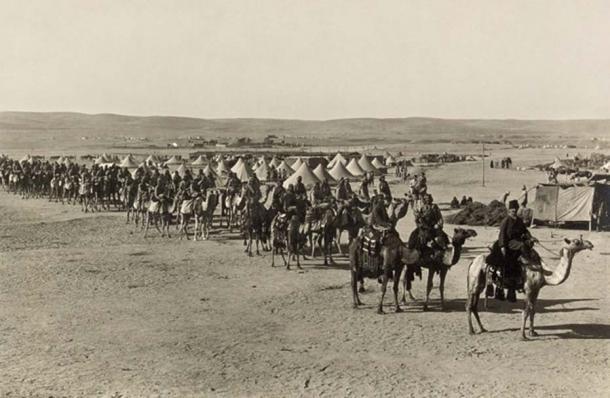 Camels have been used to haul goods for millennia. Camel Caravan, Beersheba, 1915