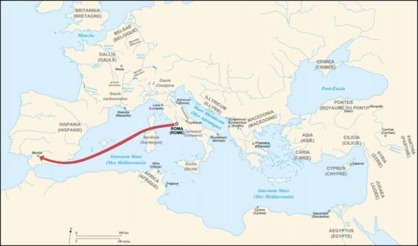 Caesar's campaign to Munda. (Historicair / CC BY-SA 3.0)