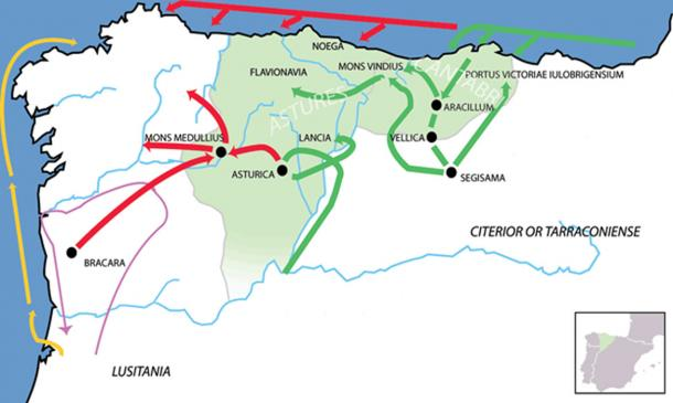 Roman campaigns versus the Cantabria and the Asturias (Green) 22 BC campaign (Red) 25 BC campaign (Purple) D.J. Brutus 137 BC campaign (Yellow) Caesar's arrival.