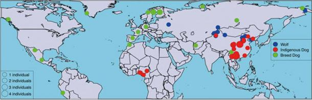 Geographic locations of the 58 canids sequenced in the study.