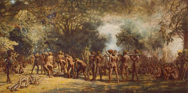 A cannibal feast on Tanna, Vanuatu, c. 1885-9
