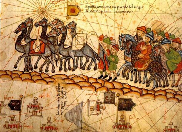 14th century depiction of a camel caravan on the Silk Road. (Public domain)