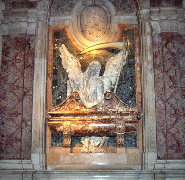 A Catholic Church in Italy has the angel of death on a cardinal's tomb.