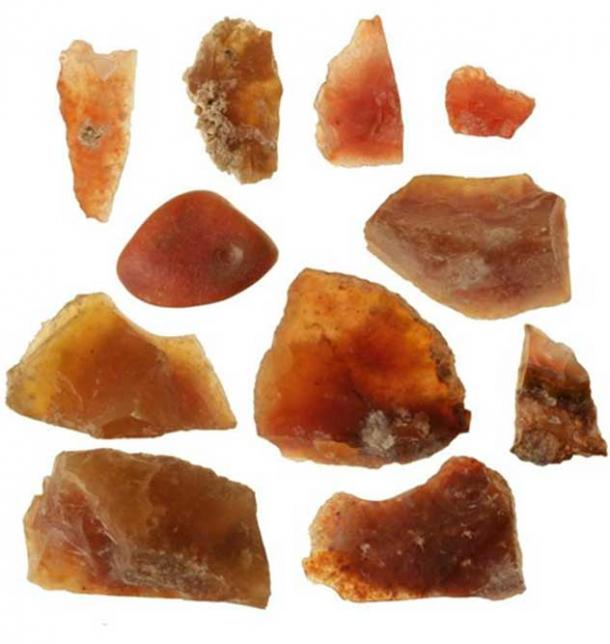 Some of the carnelian stones found at the 3500-year-old workshop.