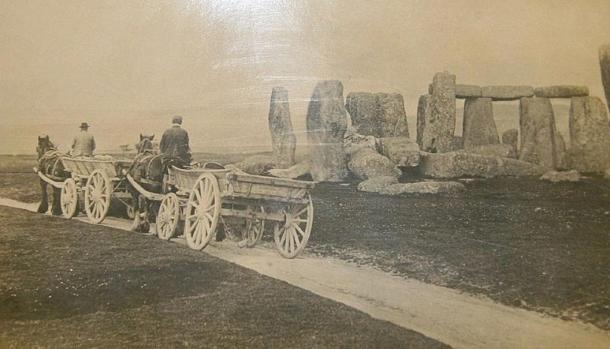 Photo showing a carriage and cart path passed close by to Stonehenge in 1885.