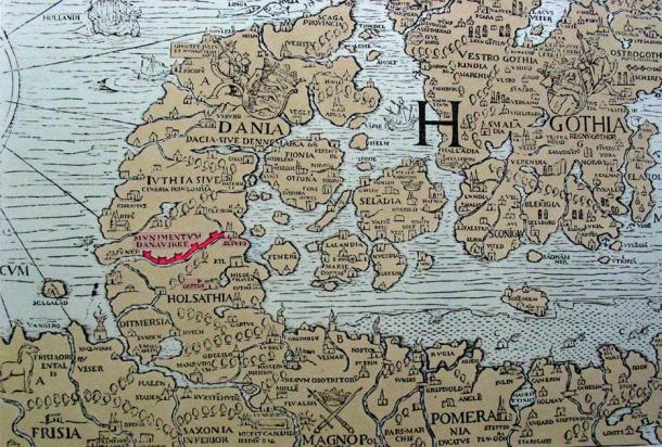 The Danevirke (shown in red) on the 16th-century Carta Marina by Olaus Magnus, published in 1539. (Public domain)