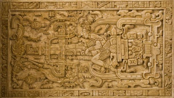 The intricate carving found on Pakal's sarcophagus lid